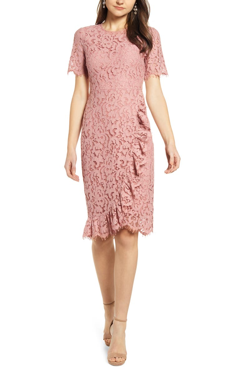 RACHEL PARCELL Ruffle Front Lace Sheath Dress, Main, color, 680