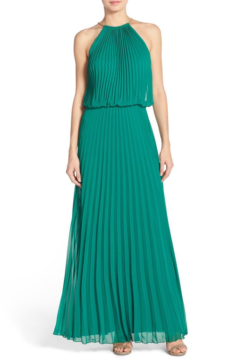 XSCAPE Pleated Chiffon Blouson Dress, Main, color, 316