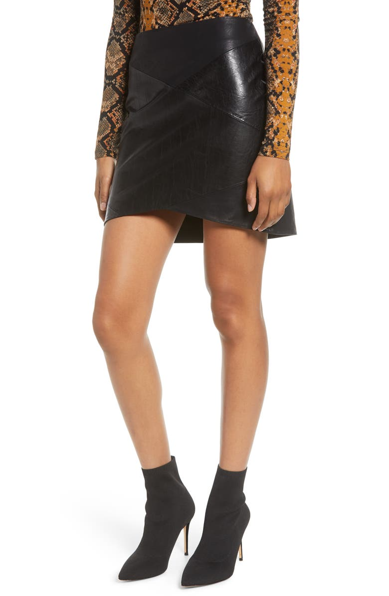 BLANKNYC Faux Leather Miniskirt, Main, color, SABLE