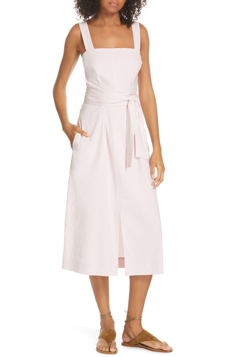 VINCE Wide Strap Belted Linen Blend Dress, Main, color, ROSA SECO