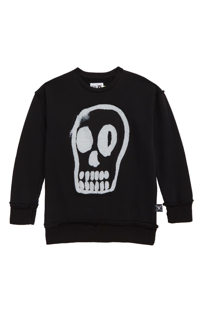 NUNUNU Dizzy Skull Sweatshirt, Main, color, BLACK