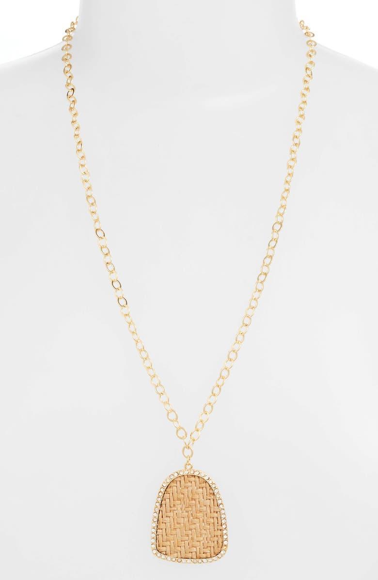 ETTIKA Raffia Pendant Necklace, Main, color, GOLD/ BROWN