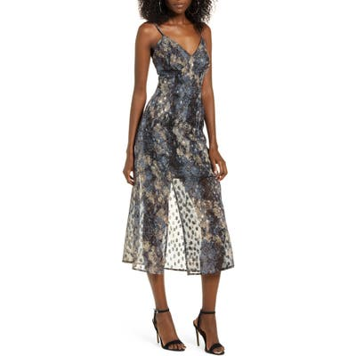 J.o.a. Print Crisscross Back Midi Dress, Blue