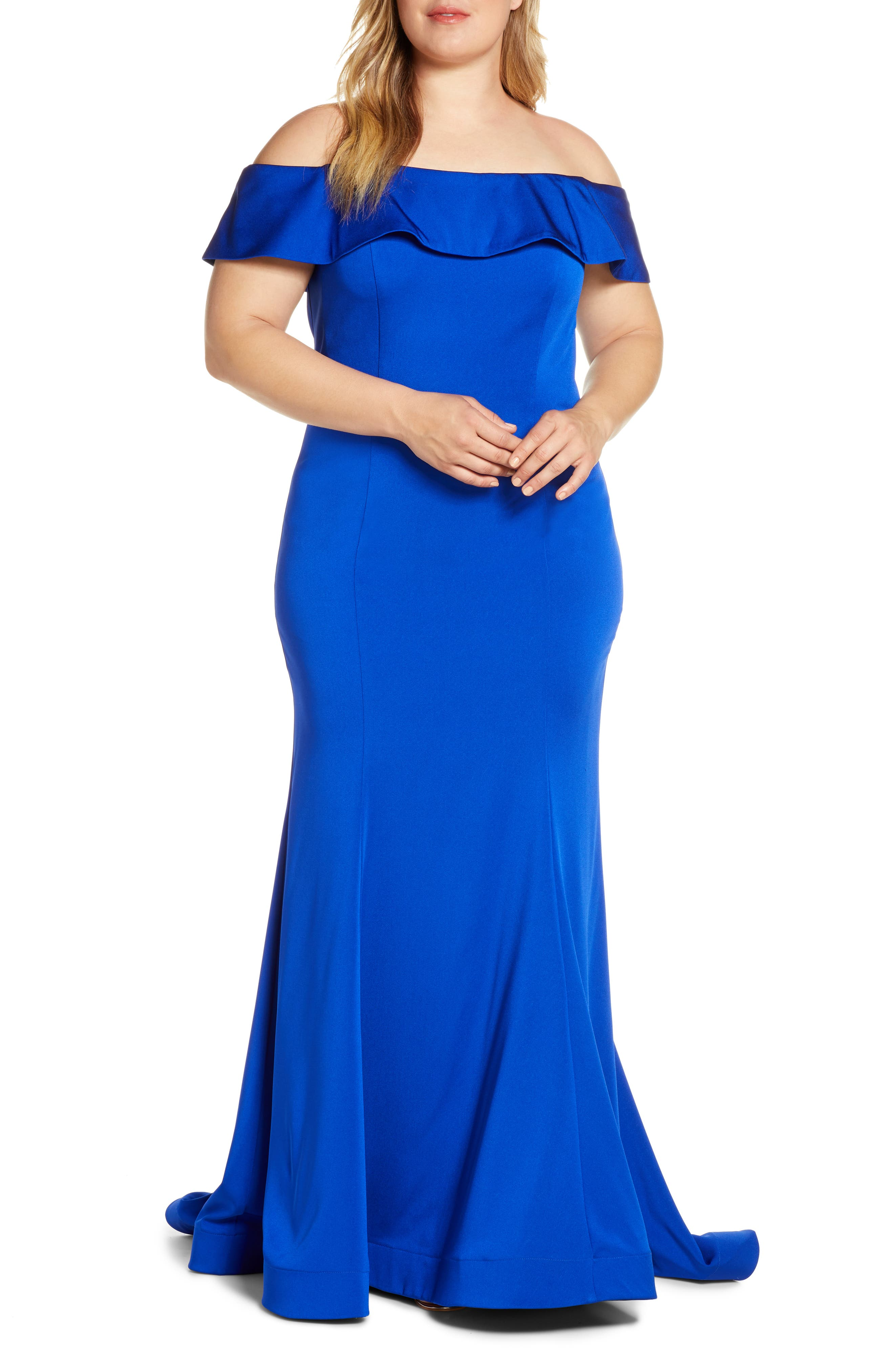 Plus Size MAC Duggal Off The Shoulder Mermaid Evening Gown, Blue