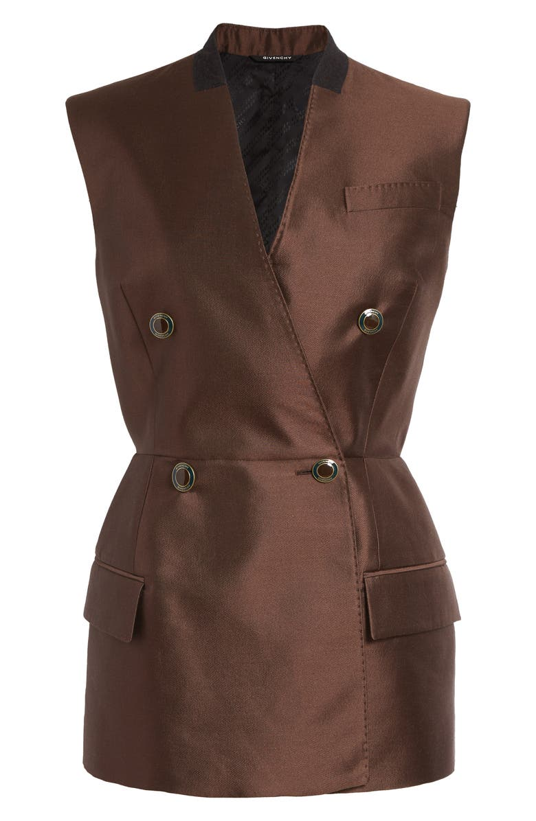 GIVENCHY Peplum Double Breasted Wool & Silk Vest, Main, color, CHOCOLATE