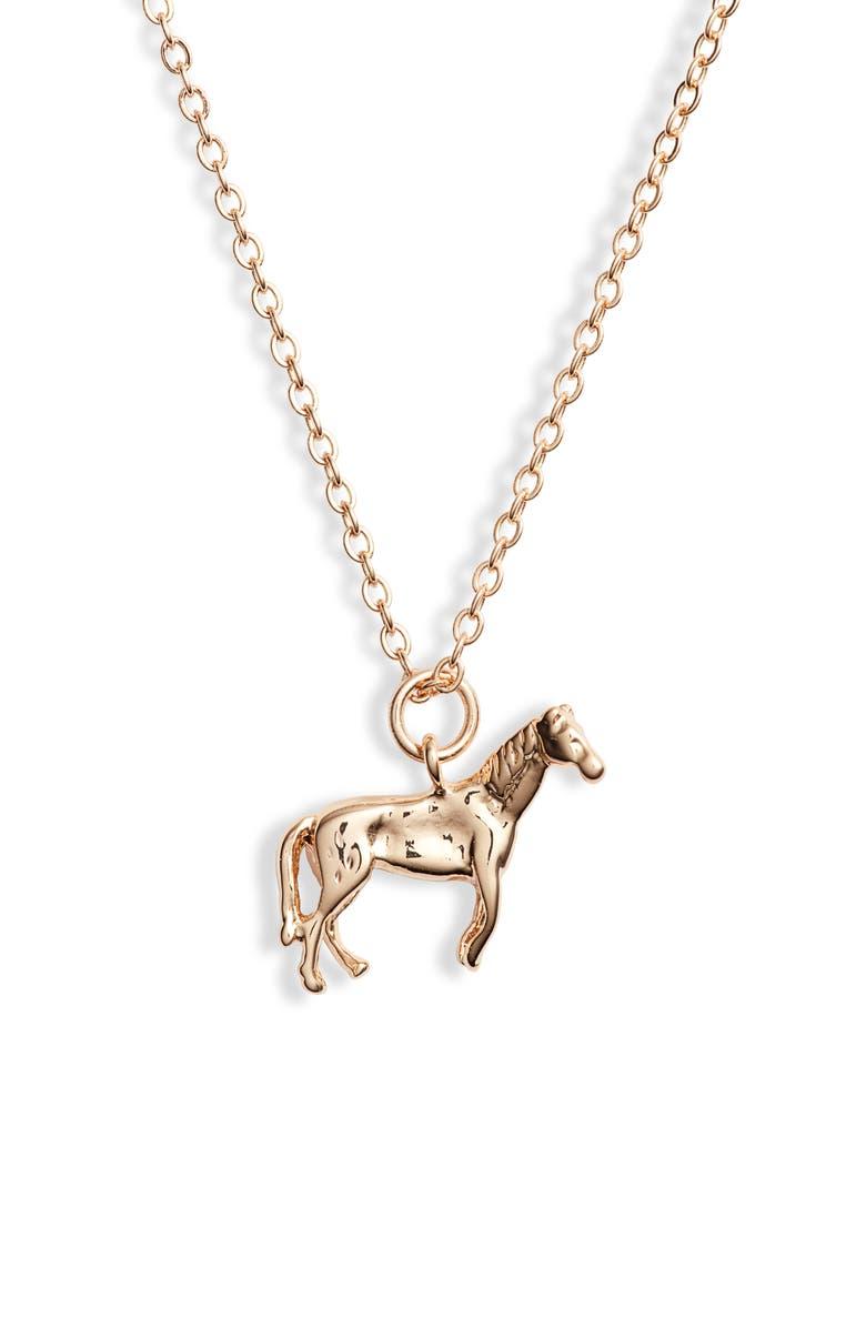 TEN79LA Horse Charm Necklace, Main, color, GOLD