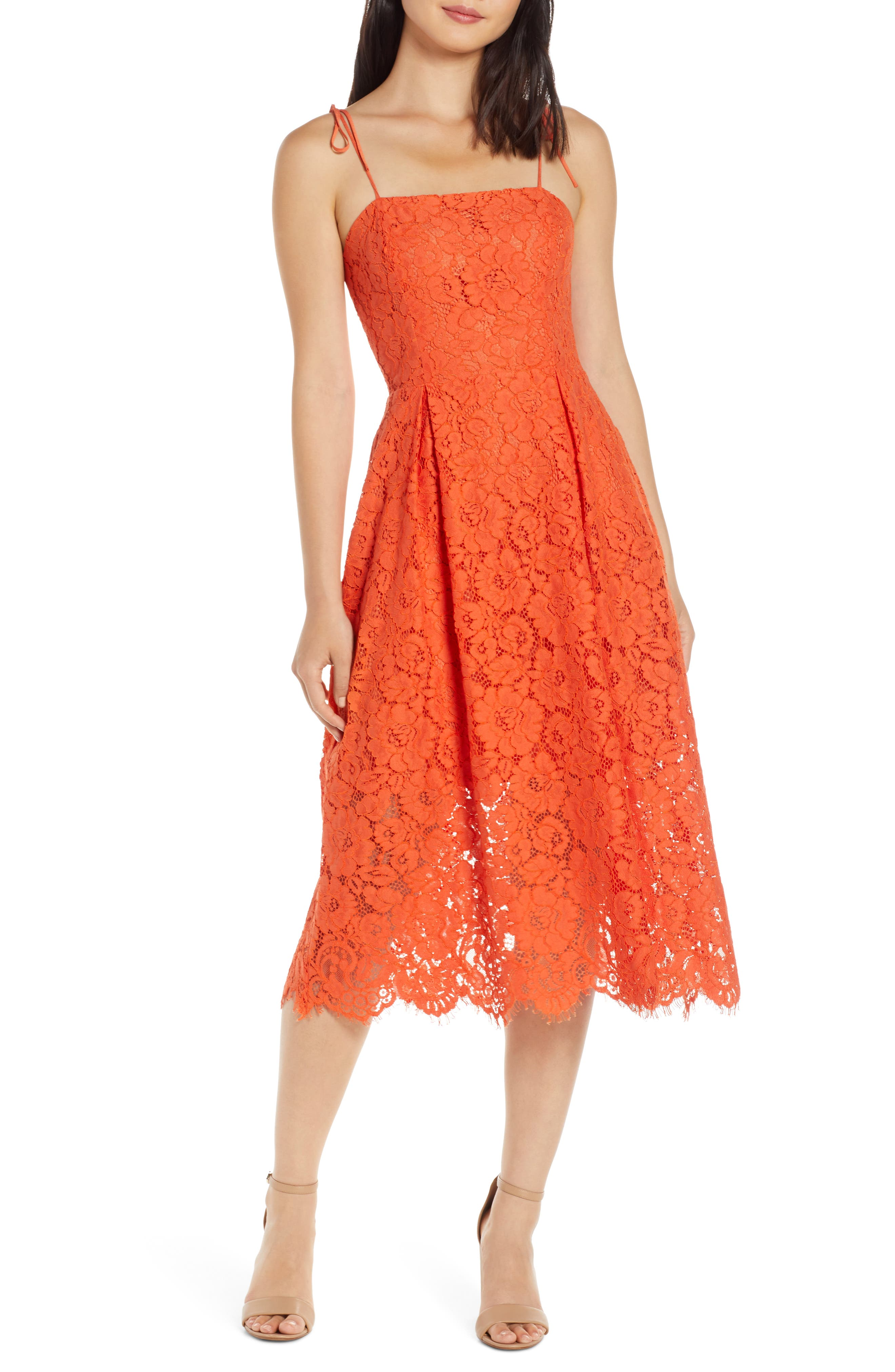 Charles Henry Tie Strap Lace Midi Dress, Orange