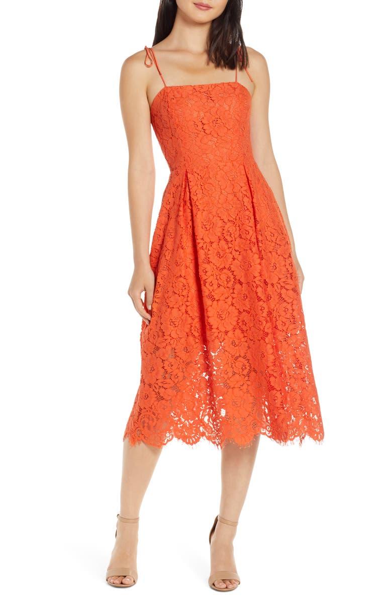 Charles Henry Tie Strap Lace Midi Dress