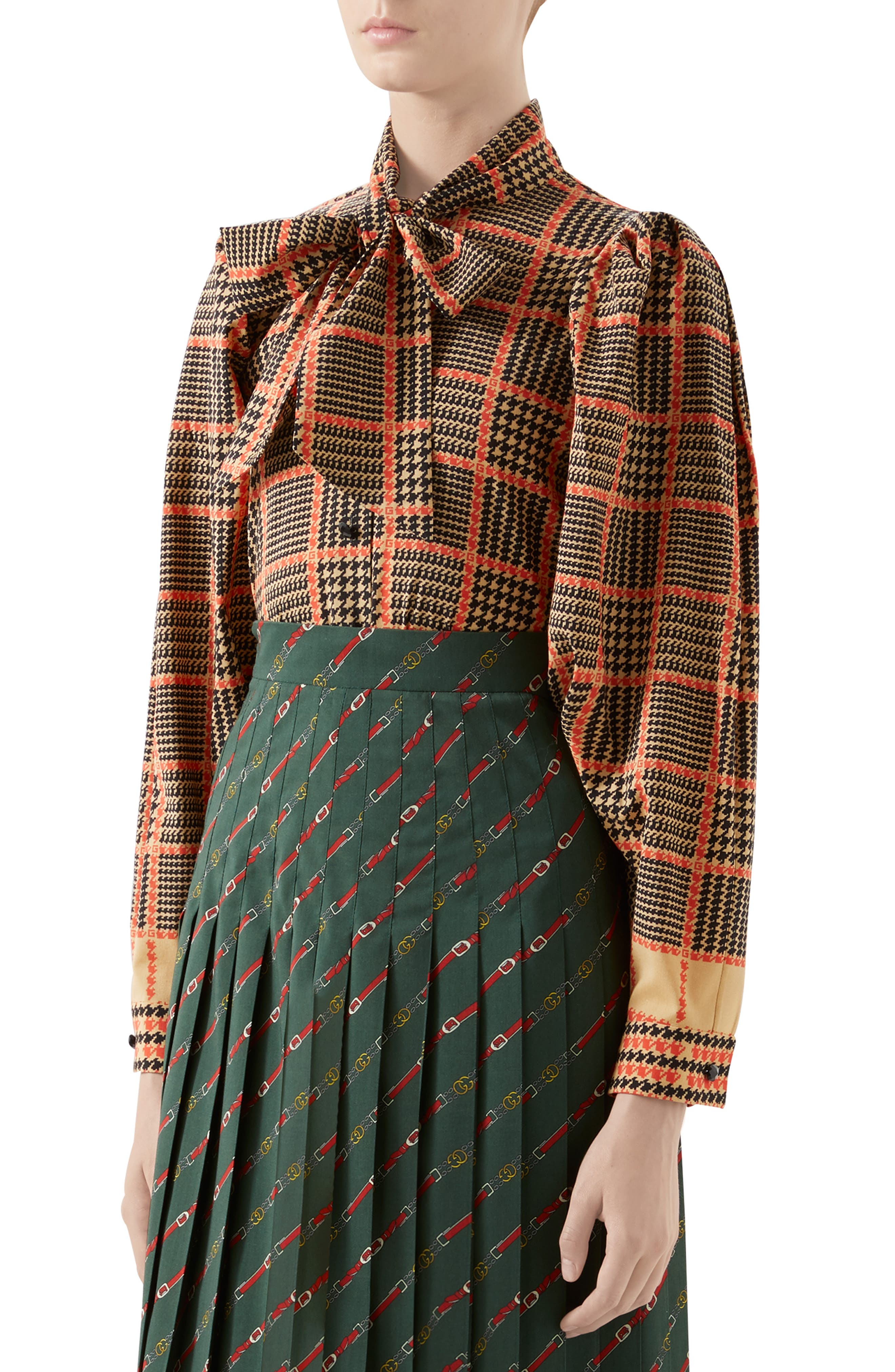 Gucci Tops Tie Neck Houndstooth Print Wool Blouse