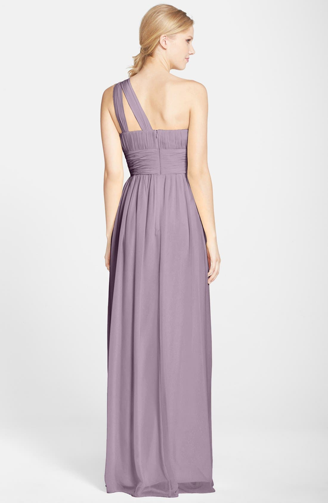 ,                             'Rachel' Ruched One-Shoulder Chiffon Gown,                             Alternate thumbnail 11, color,                             020