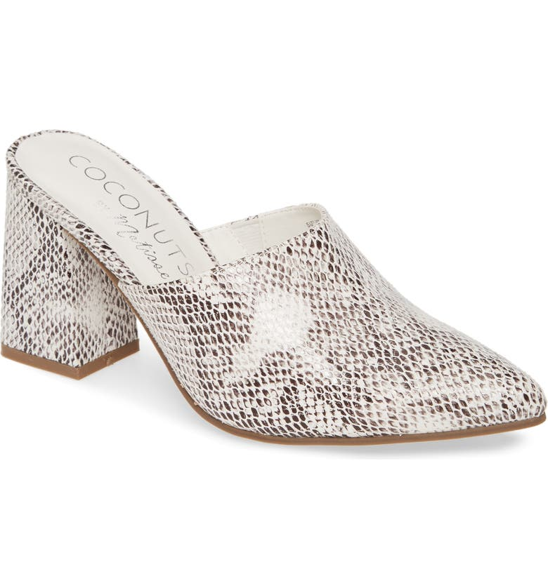 COCONUTS BY MATISSE High Noon Snake Embossed Mule, Main, color, WHITE