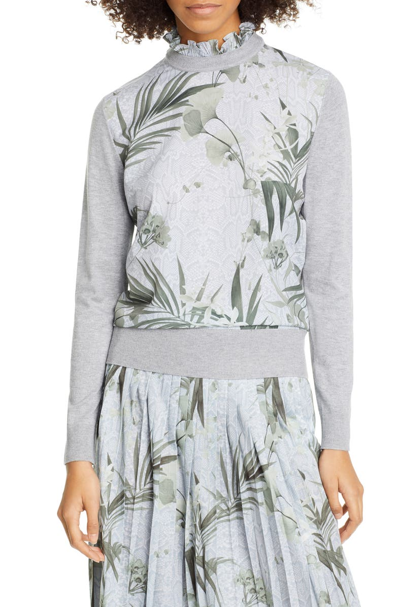 TED BAKER LONDON Emally Woven Front Sweater, Main, color, GREY