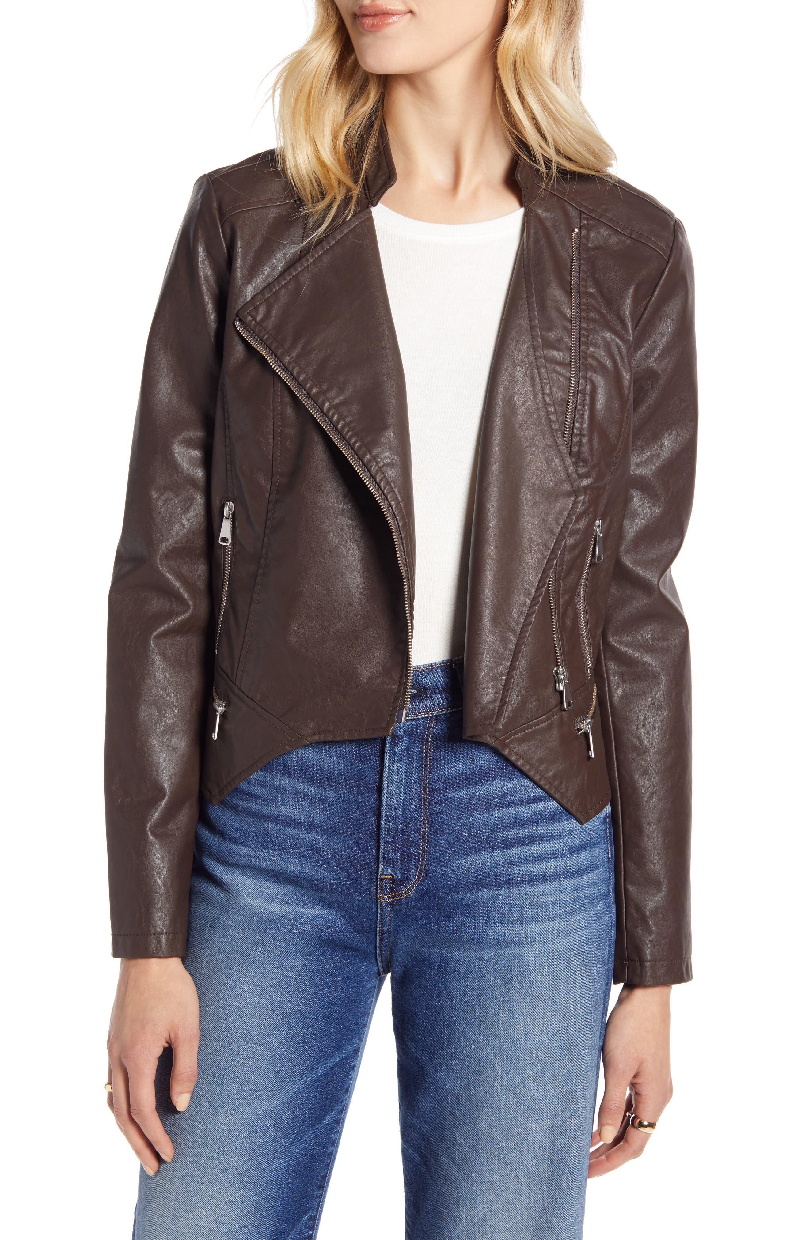 Halogen® Peplum Faux Leather Moto Jacket