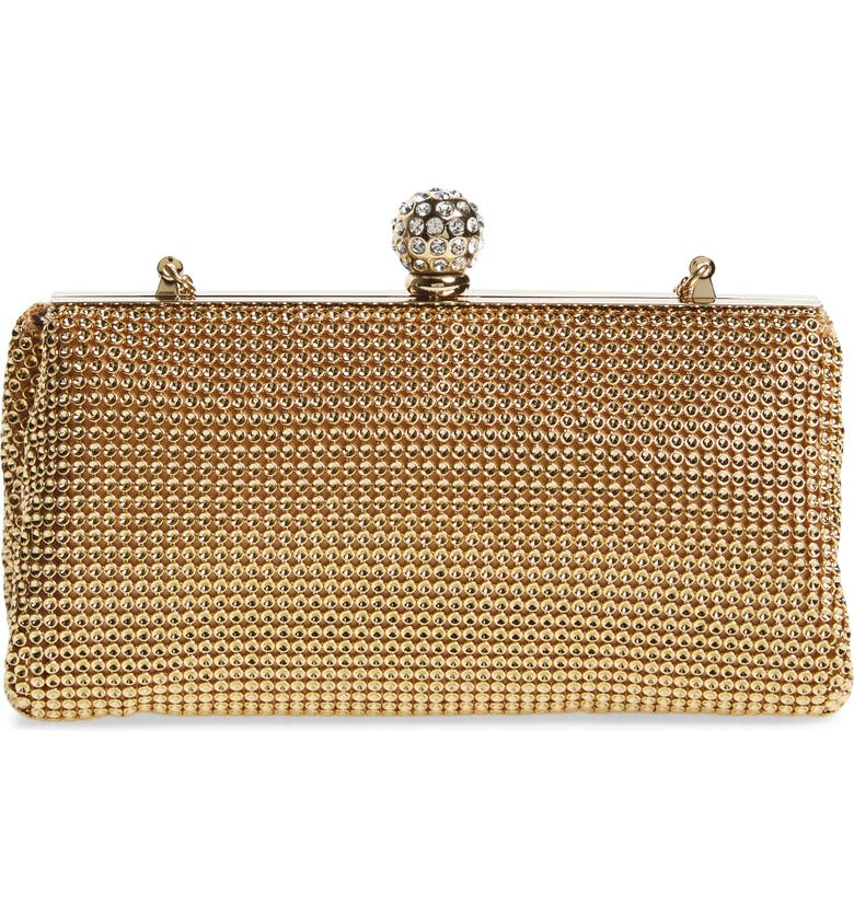 WHITING & DAVIS 'Crystal' Mesh Clutch, Main, color, GOLD