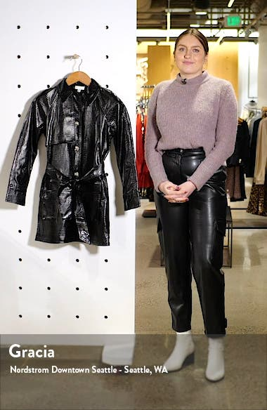Charlie Faux Crocodile Belted Jacket, sales video thumbnail