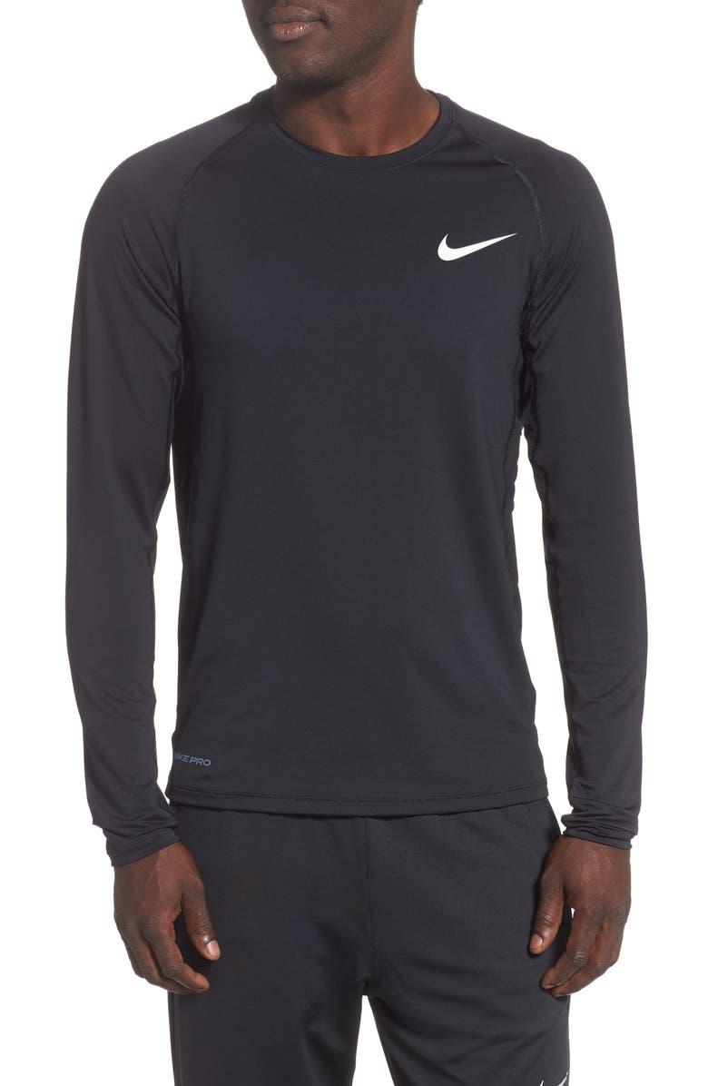 NIKE Pro Long Sleeve Training T-Shirt, Main, color, BLACK/ WHITE