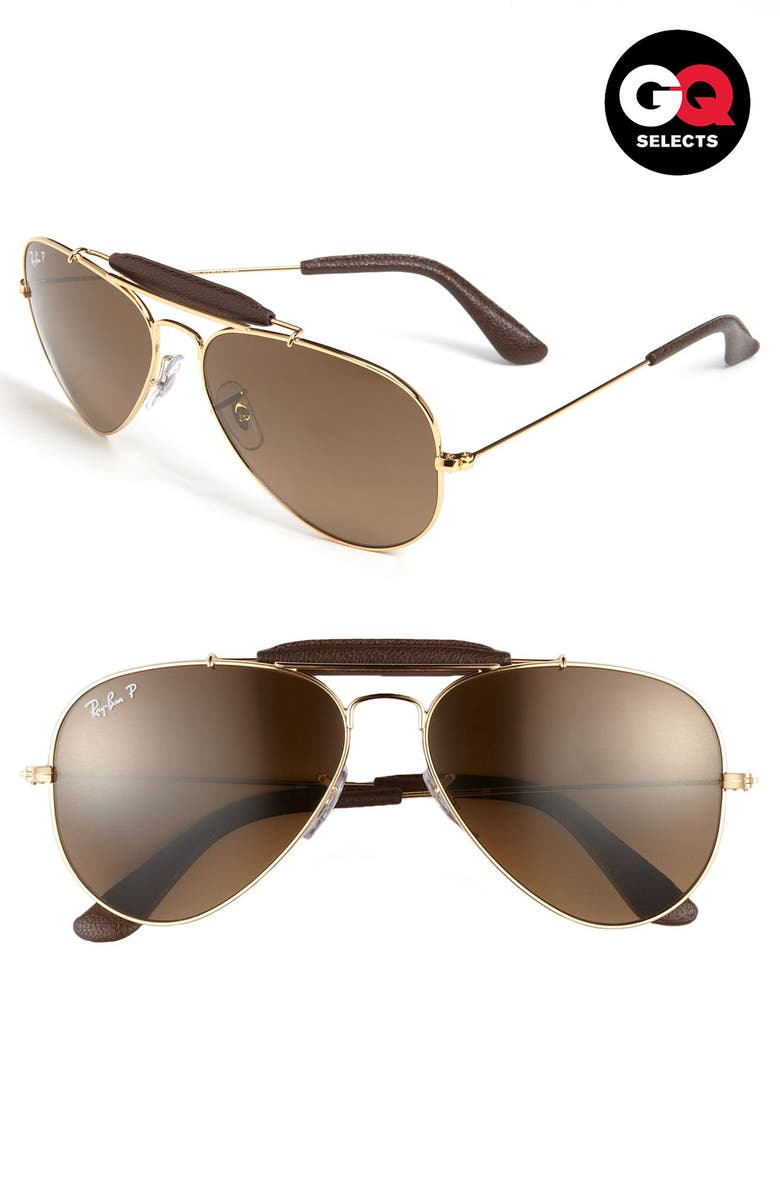 RAY-BAN 'Outdoorsman<sup>®</sup>' 58mm Polarized Aviator Sunglasses, Main, color, 710