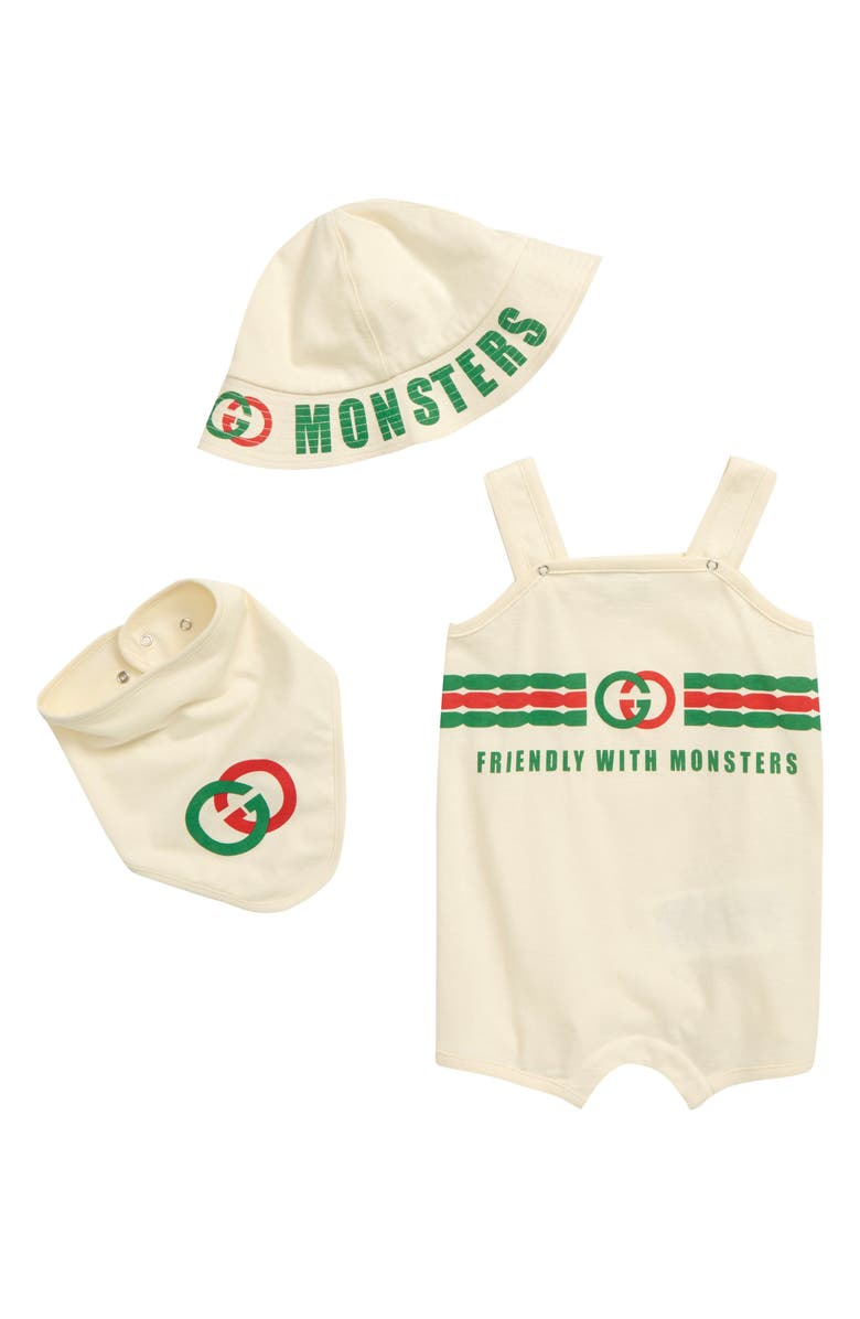 GUCCI Friendly with Monsters Logo Cotton Romper, Hat & Bib Set, Main, color, 900