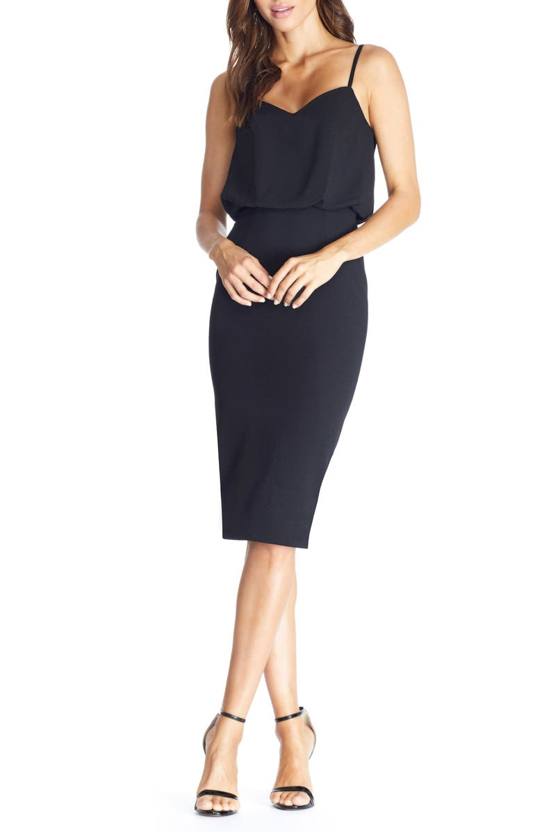 DRESS THE POPULATION Alondra Blouson Sheath Dress, Main, color, BLACK