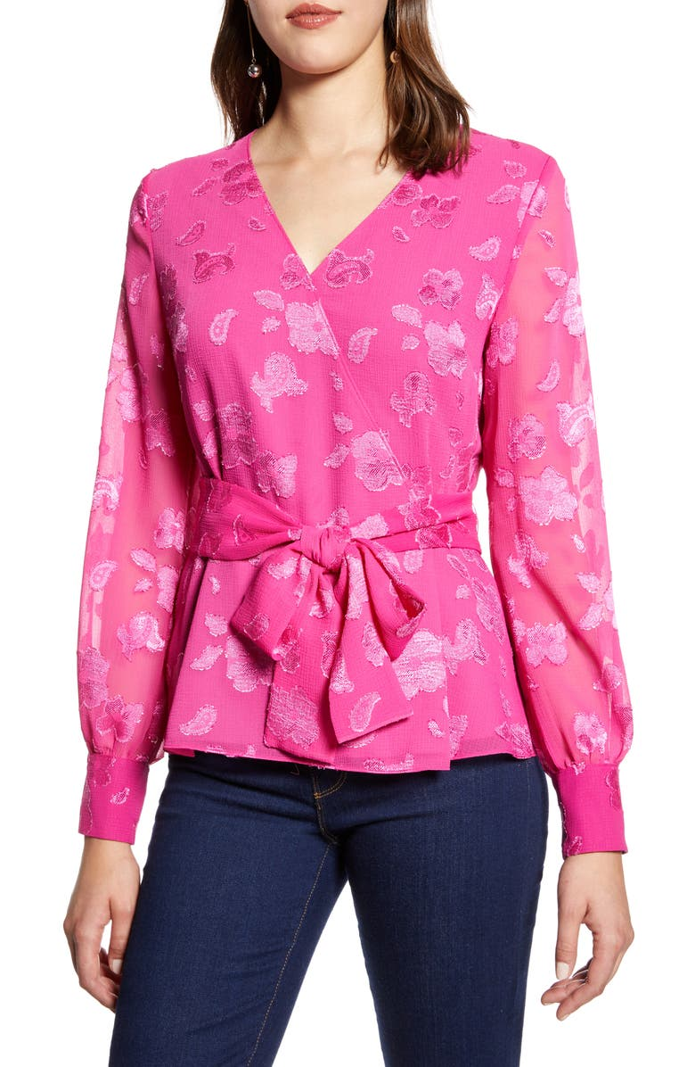 HALOGEN<SUP>®</SUP> Floral Metallic Fil Coupé Wrap Blouse, Main, color, PINK- BLACK FLORAL