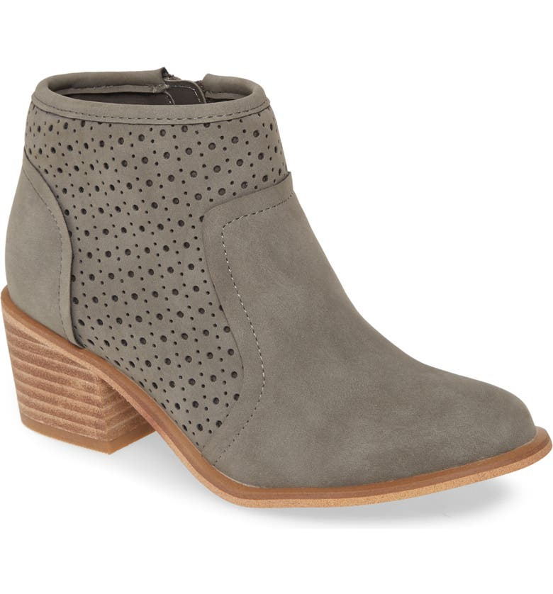 TREASURE & BOND Perforated Block Heel Bootie, Main, color, GREY FAUX NUBUCK