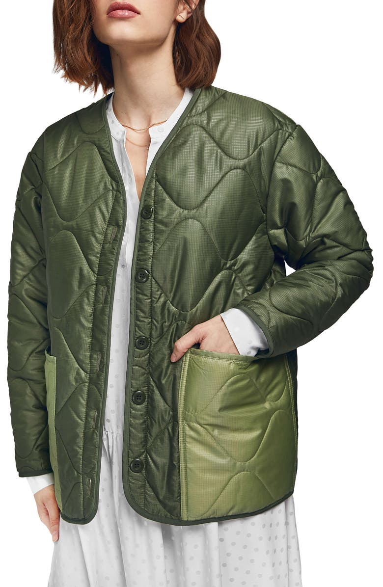 ANINE BING Andy Quilted Bomber Jacket, Main, color, MILITARY GREEN