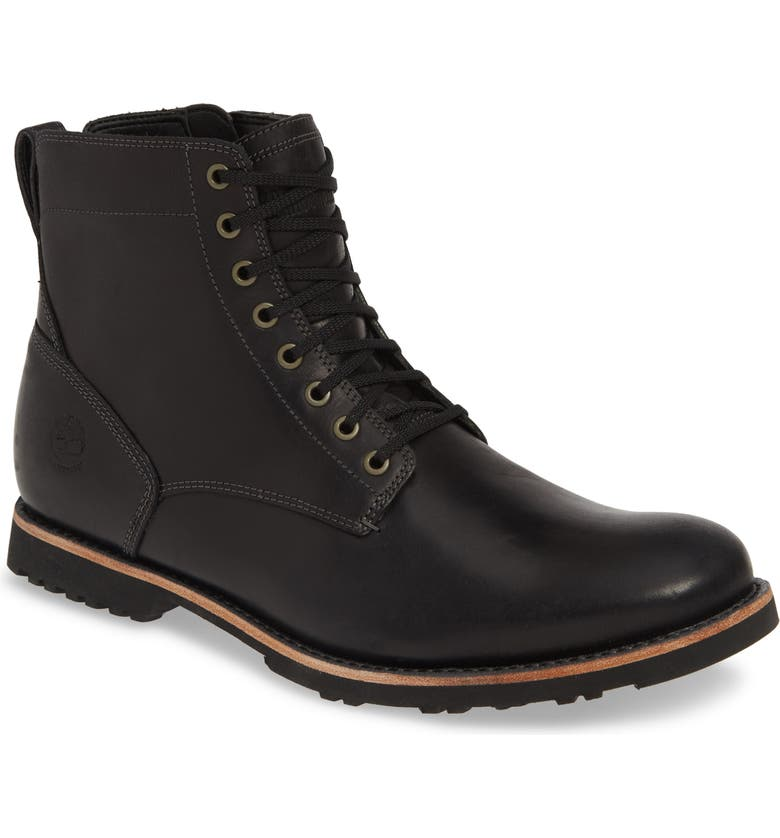 TIMBERLAND Kendrick Side Zip Waterproof Boot, Main, color, BLACK LEATHER