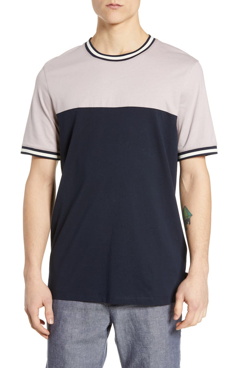 TED BAKER LONDON Silva Slim Colorblock T-Shirt, Main, color, DUSKY PINK