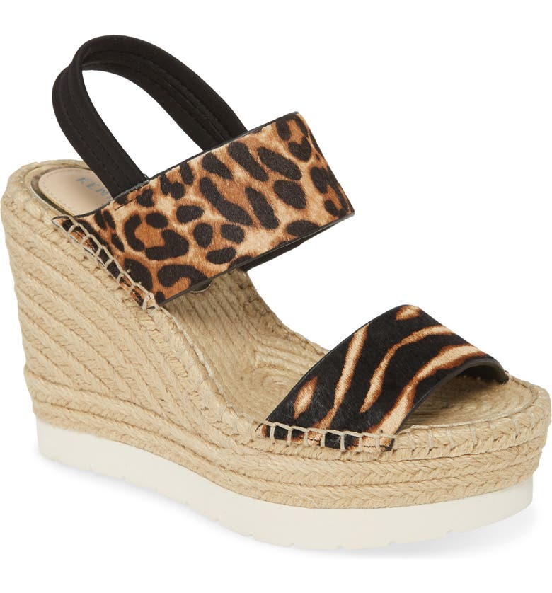 KENNETH COLE NEW YORK Olivia Espadrille Wedge Sandal, Main, color, GRAPHIC ZEBRA CALF HAIR