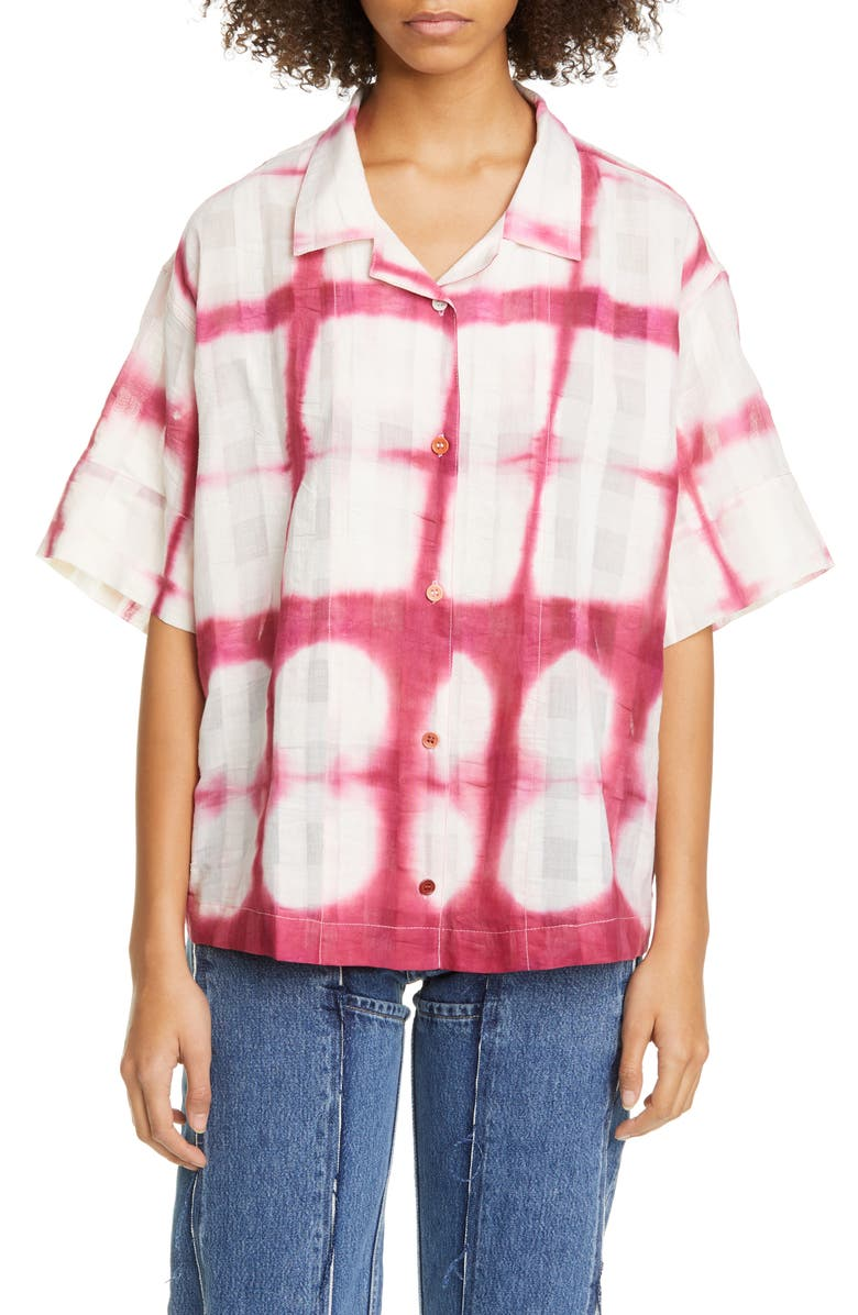 STORY MFG. Tie Dye Organic Cotton Bowling Shirt, Main, color, 650