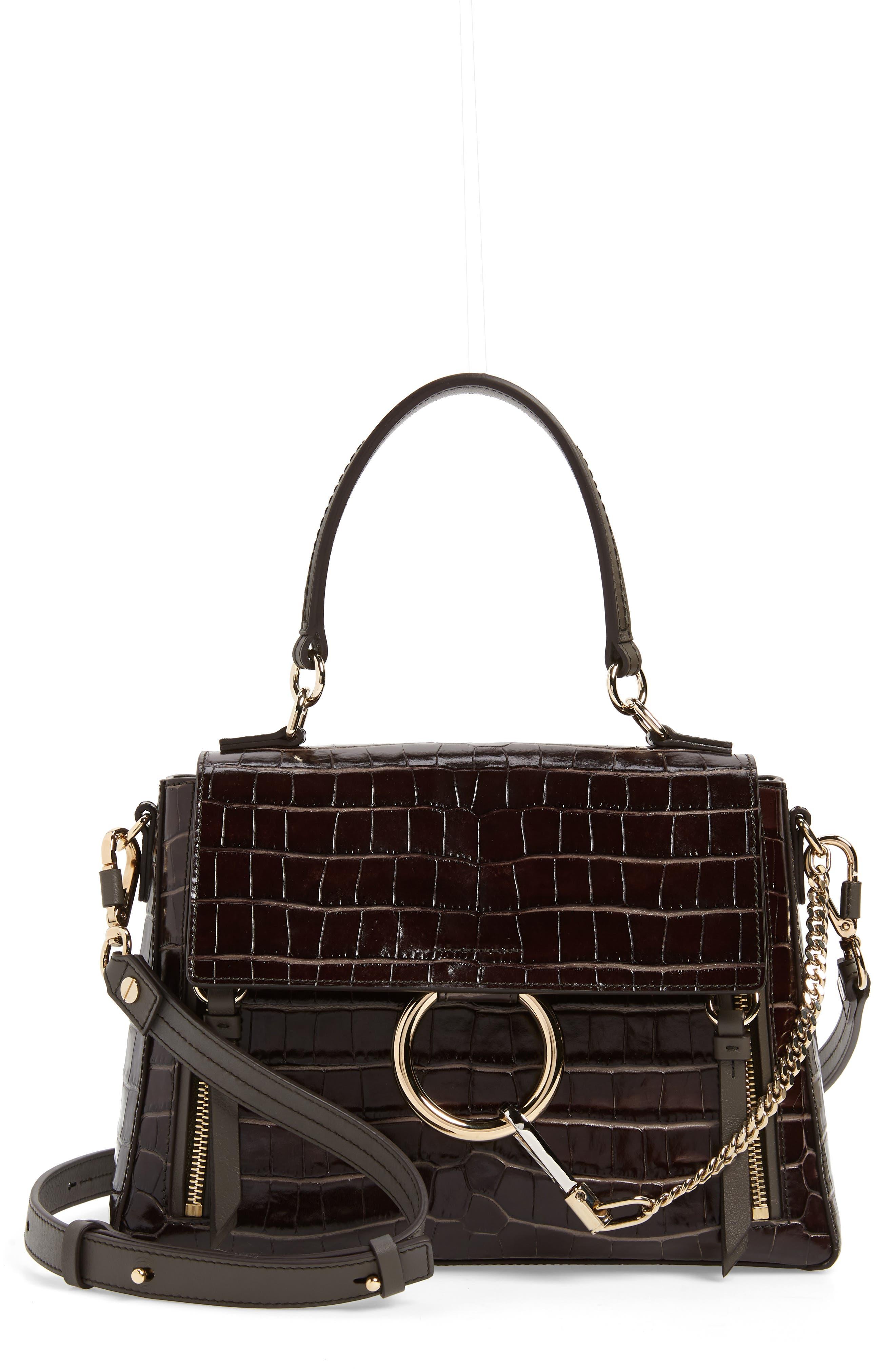 Medium Faye Day Croc Embossed Leather Shoulder Bag, Main, color, PROFOUND BROWN