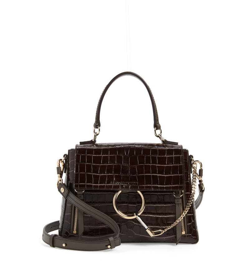 CHLOÉ Medium Faye Day Croc Embossed Leather Shoulder Bag, Main, color, PROFOUND BROWN