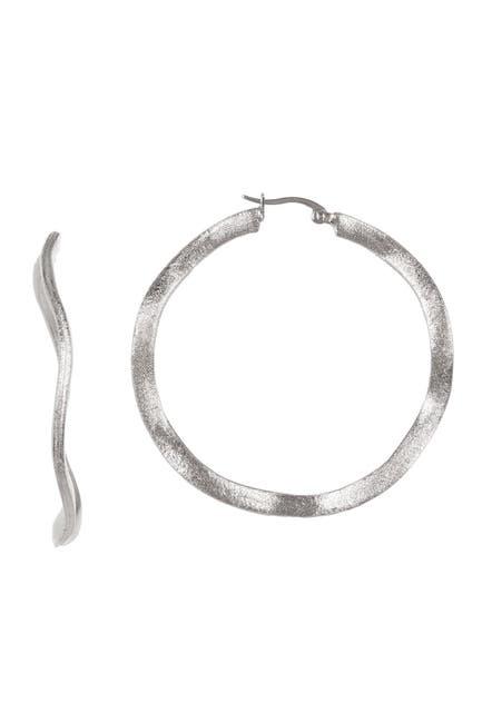 Image of Rivka Friedman 50mm White Rhodium Clad Satin Wavy Hoop Earrings