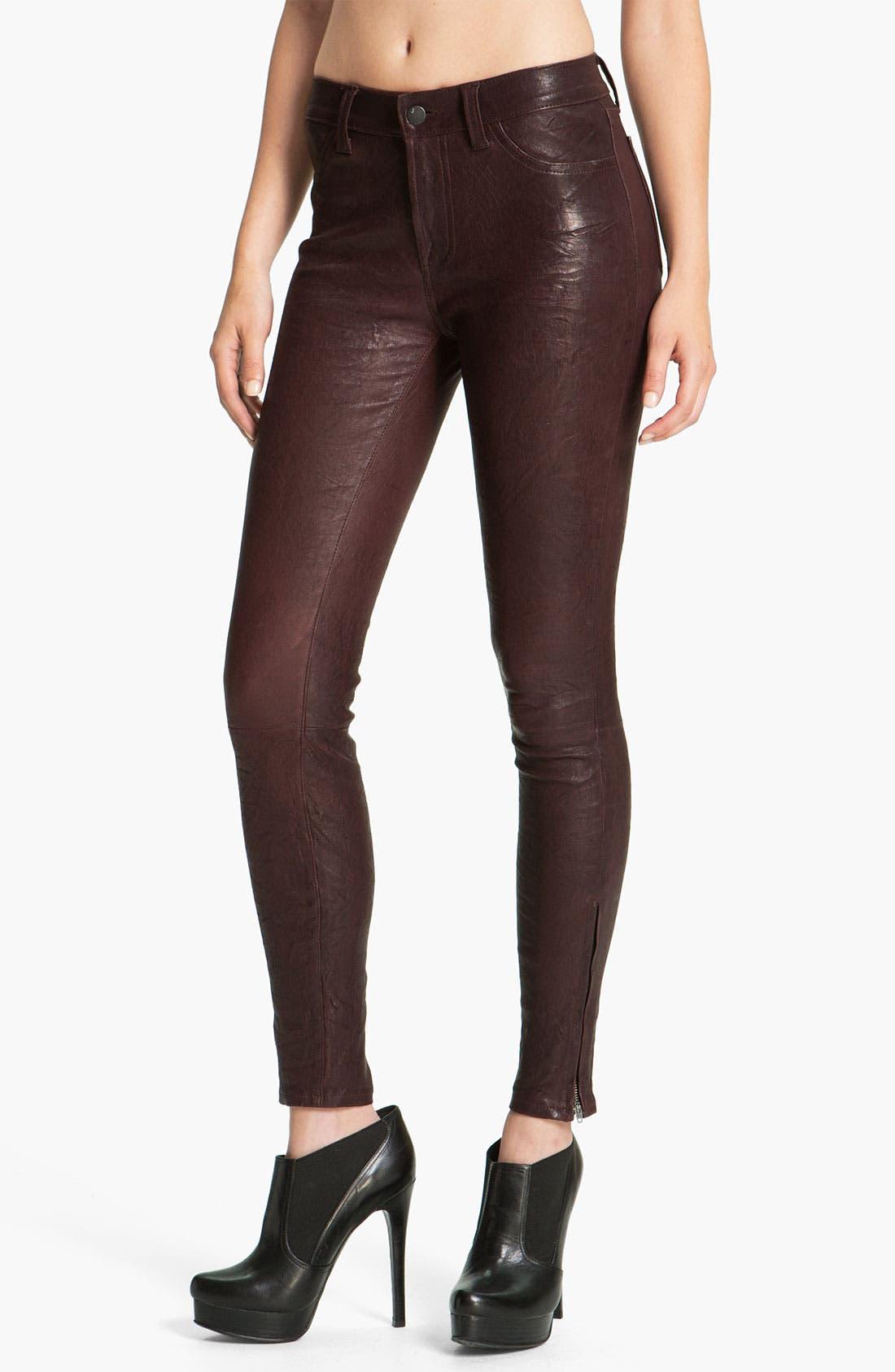 ,                             '8001' Lambskin Leather Pants,                             Main thumbnail 80, color,                             930