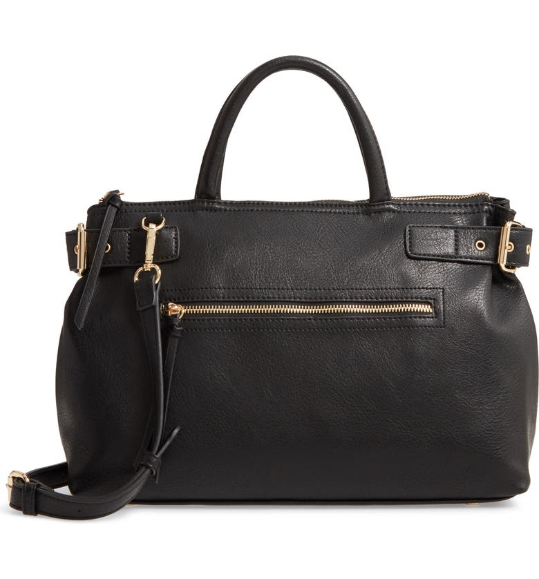 SOLE SOCIETY Dael Faux Leather Satchel, Main, color, BLACK