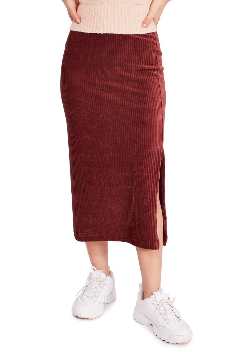 FREE PEOPLE Helen Ribbed Tube Midi Skirt, Main, color, BROWN