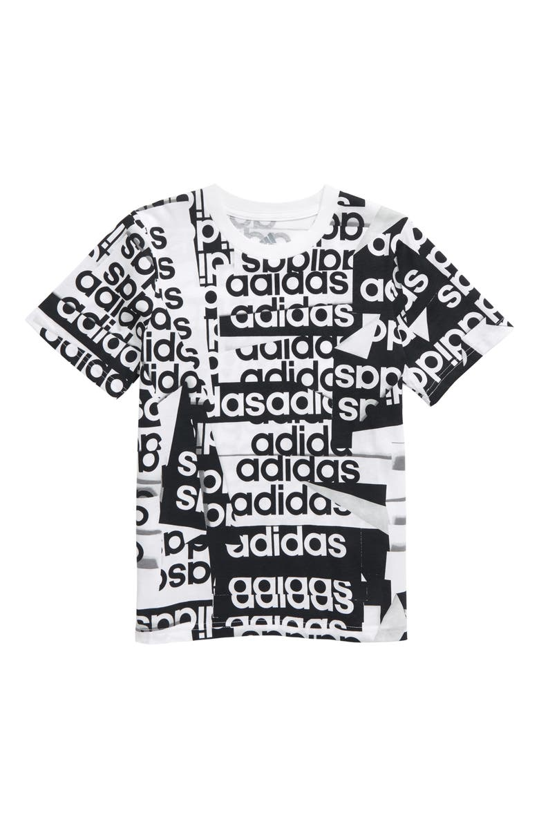 ADIDAS Core Linear Graphic Tee, Main, color, WHITE