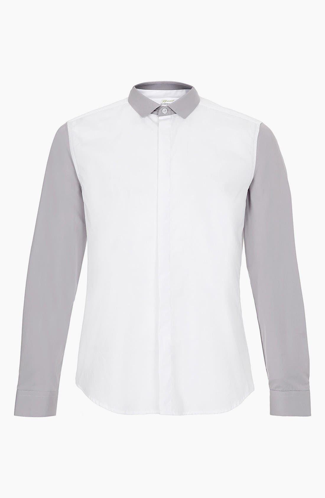 ,                             Topman 'Smart' Extra Trim Contrast Dress Shirt,                             Main thumbnail 1, color,                             100