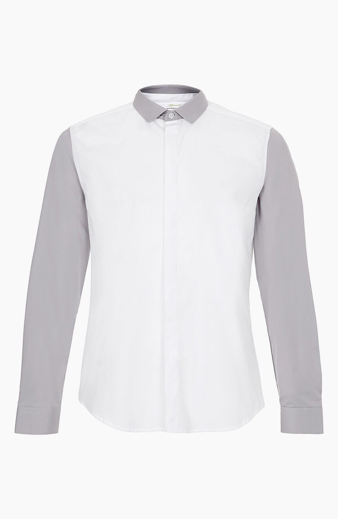 Topman 'Smart' Extra Trim Contrast Dress Shirt, Main, color, 100