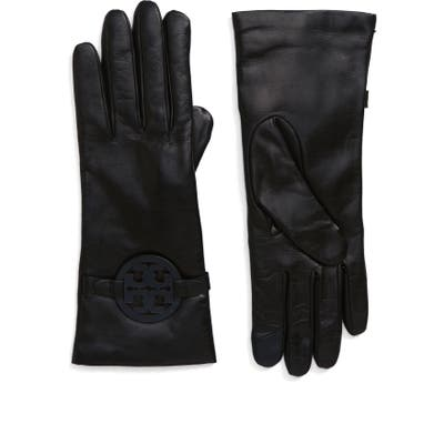 Tory Burch Miller T-Logo Leather Gloves - Black