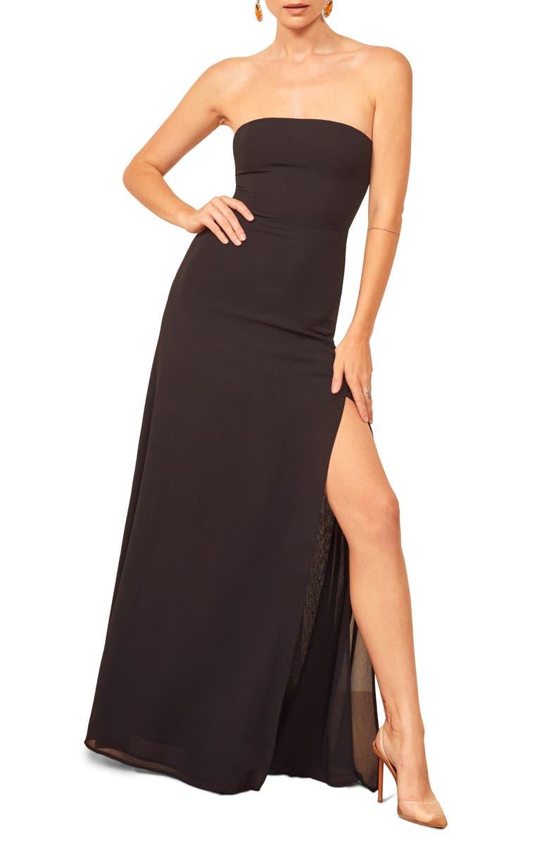 REFORMATION Ingrid Maxi Dress, Main, color, BLACK