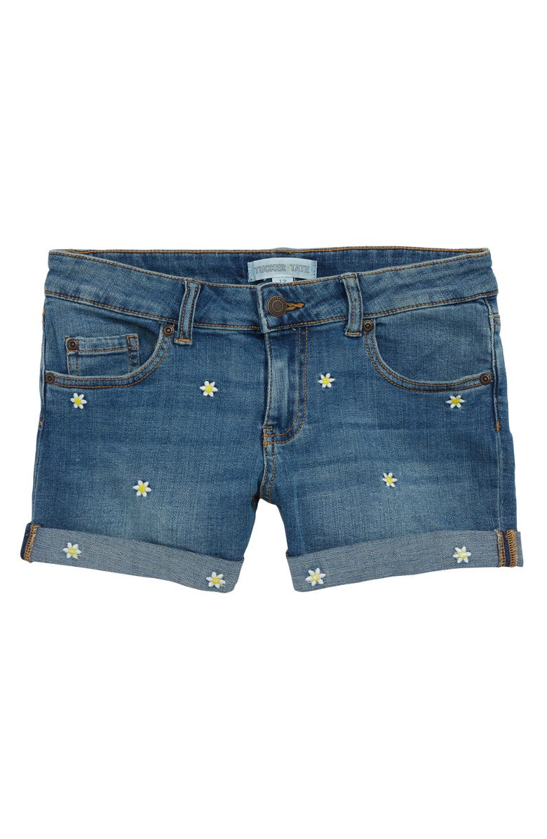 TUCKER + TATE Embroidered Denim Shorts, Main, color, 420