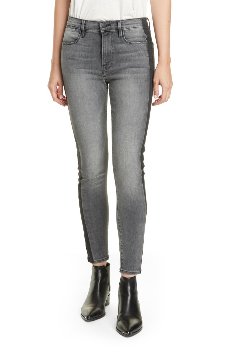 FRAME Le High Skinny Coated Tuxedo Shadow Ankle Jeans, Main, color, FLASH BACK