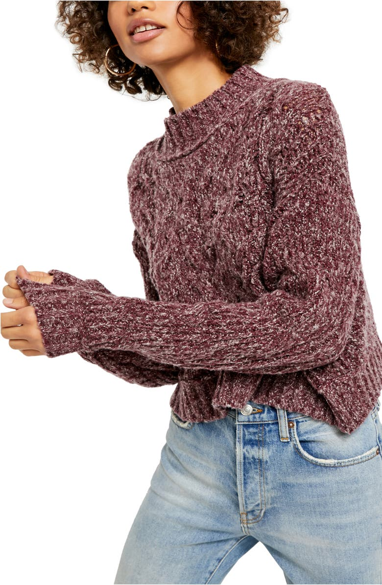 FREE PEOPLE Merry Go Round Sweater, Main, color, MISTY PLUM