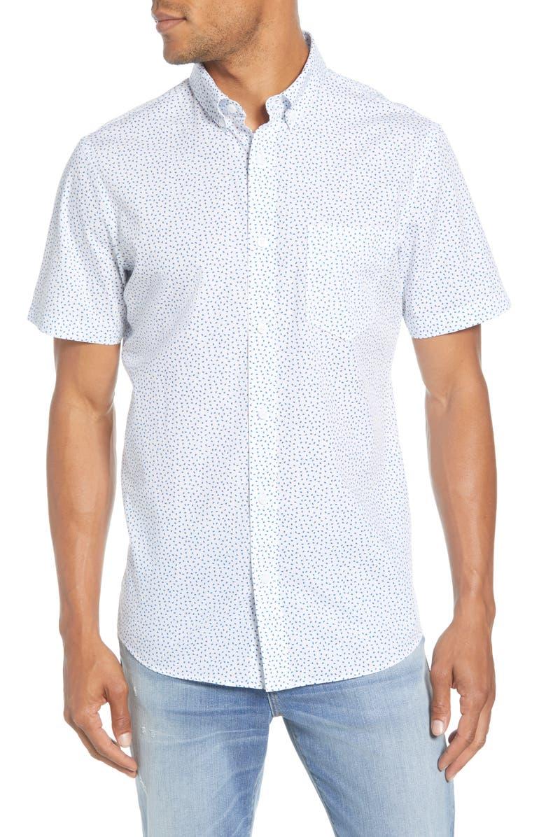 1901 Trim Fit Short Sleeve Button-Down Shirt, Main, color, WHITE BLUE MINI PETALS