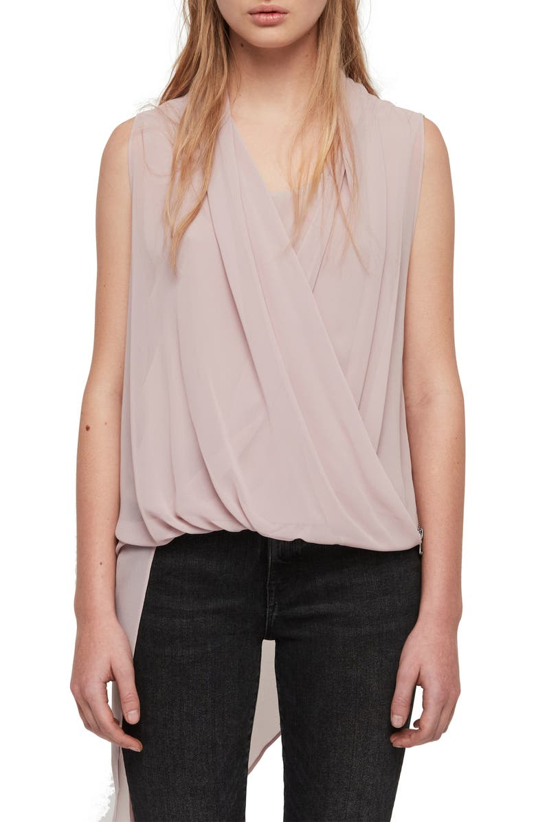 ALLSAINTS Abi Chiffon Asymmetrical Tunic, Main, color, DUSTY PINK