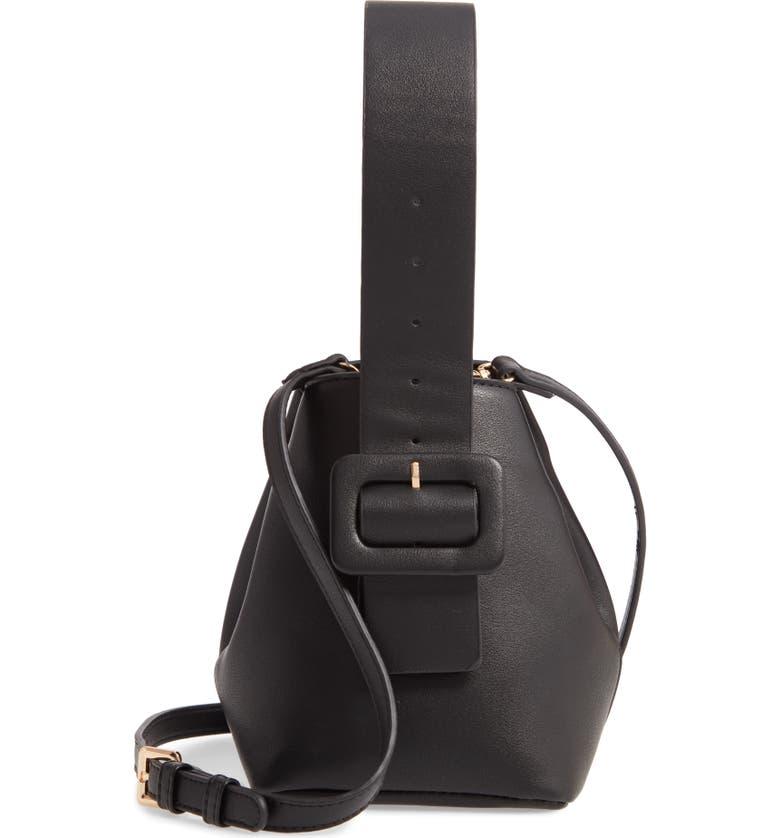 MALI + LILI Bridget Vegan Leather Mini Bag, Main, color, BLACK