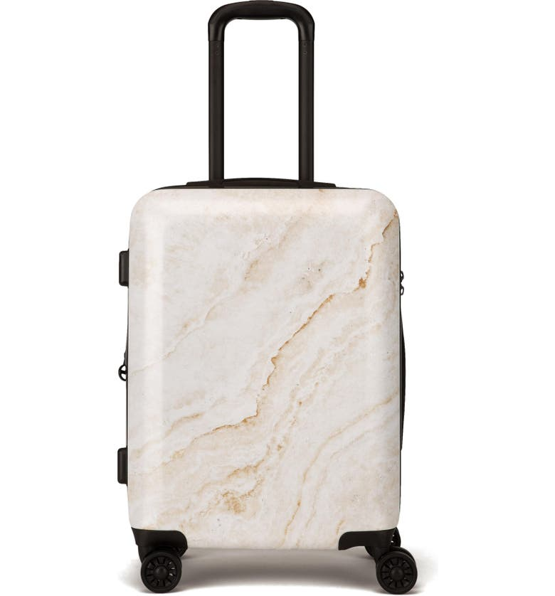 CALPAK Gold Marble 22-Inch Rolling Spinner Carry-On, Main, color, GOLD MARBLE