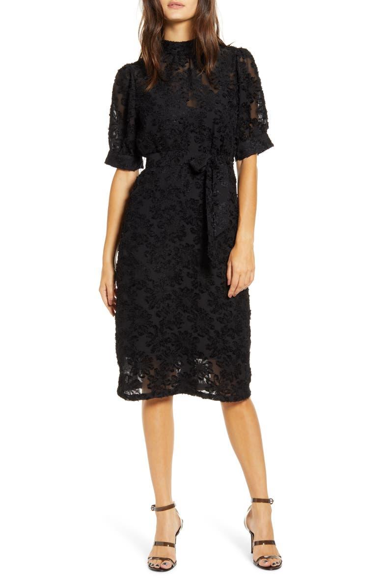 VERO MODA Ice Lace Tie Waist Dress, Main, color, BLACK