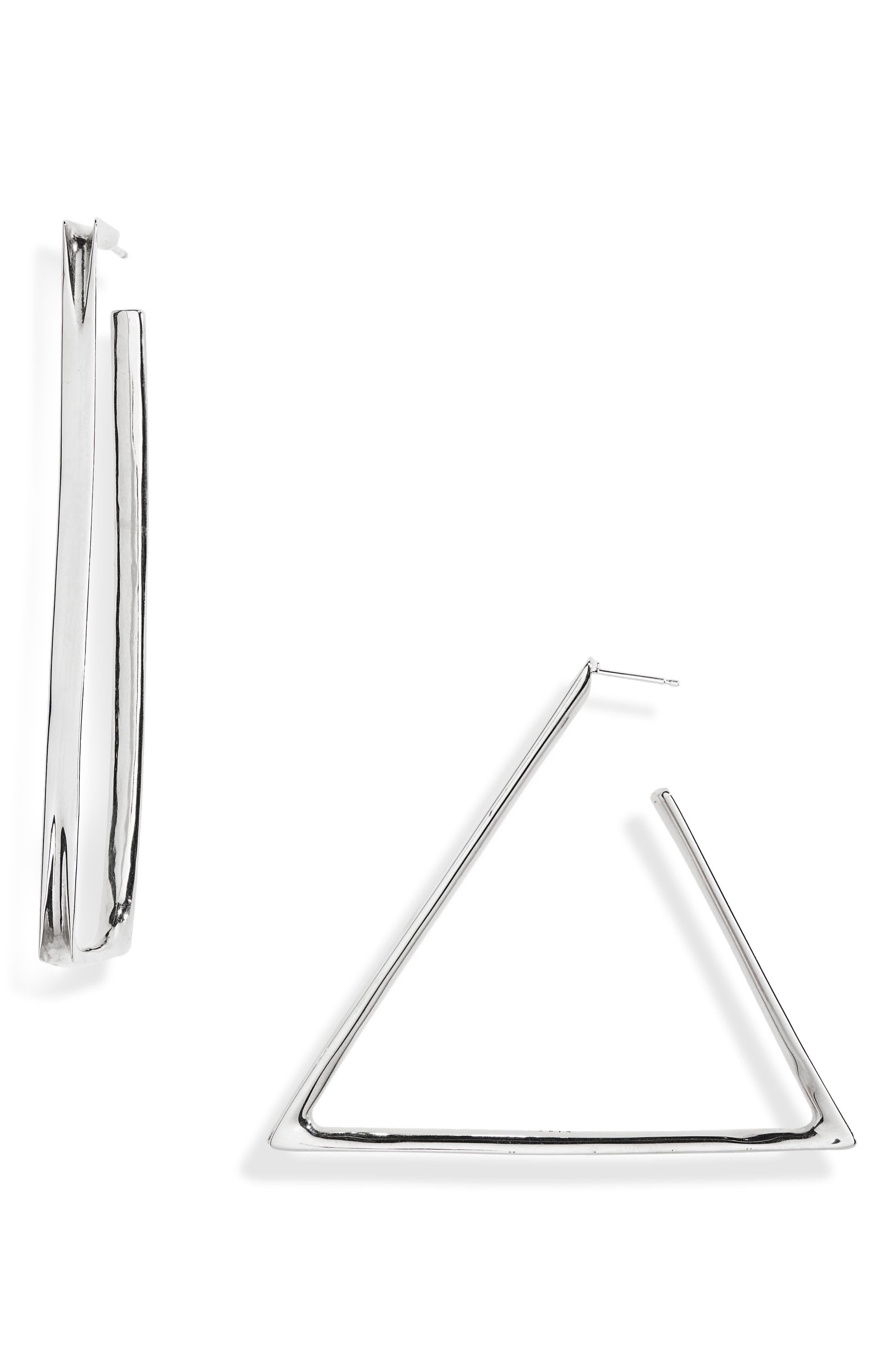 Shape Triangle & Rectangle Mismatched Hoop Earrings